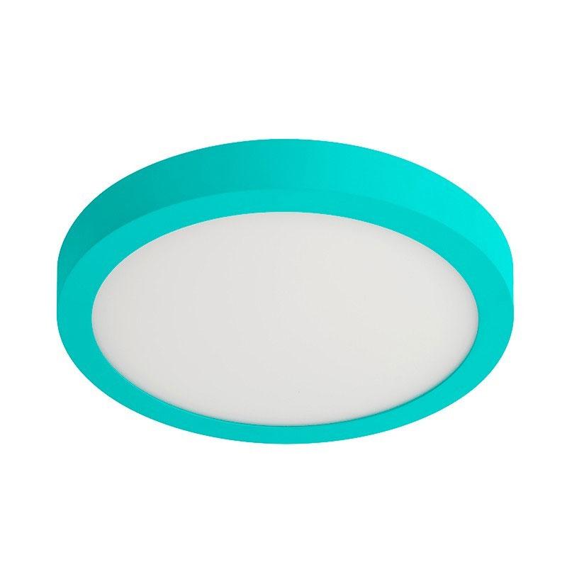 Plafón led integrado redondo de aluminio pintado azul con difusor de luz acrílico
