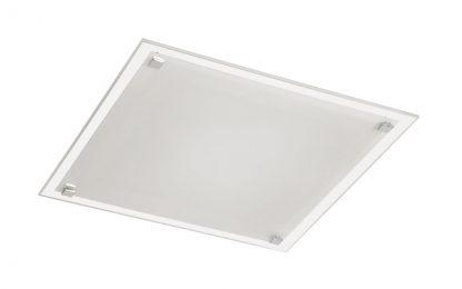 Plafón cristal cuadrado plano 4 botones cromo