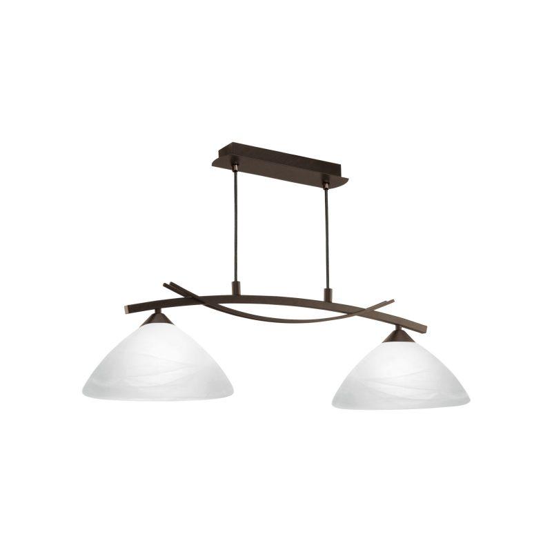 Lámpara 2 luces marrón cristal blanco Vinovo