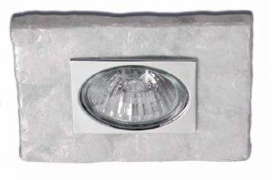 Foco empotrable cuadrado nácar y placa de metal cromada