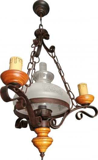 Lámpara colgante quinqué 3 velas +1 luz forja rústica negra pátina marrón y madera