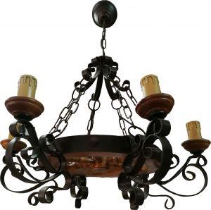 Lámpara 6 velas forja rústica negra pátina marrón y madera