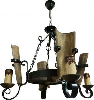 Lámpara 4 velas forja rústica negra tejas y madera