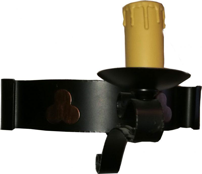 Aplique 1 vela forja rústica negra trebol cobre