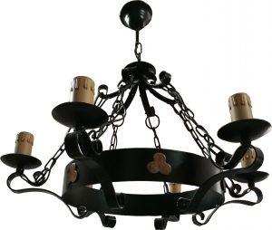 Lámpara 6 velas forja rústica negra trebol cobre