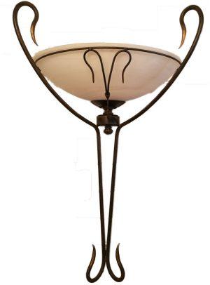 Aplique forja marrón cristal blanco 70cm