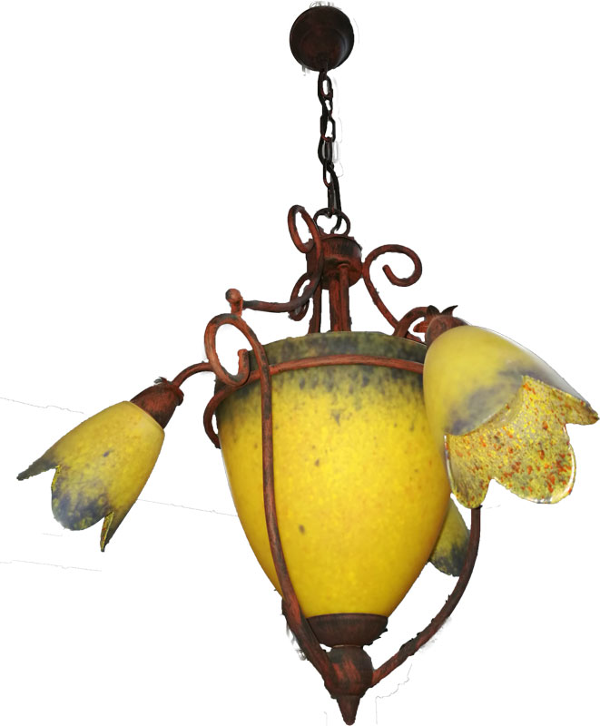 Lámpara rústica 3+3 luces oxido cristal amarillo lila