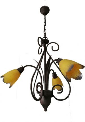Lámpara rústica 3 luces oxido cristal amarillo lila