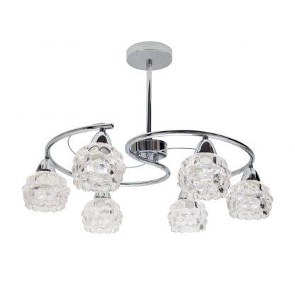Lámpara 6xE14 metal tulipa cristal Glass