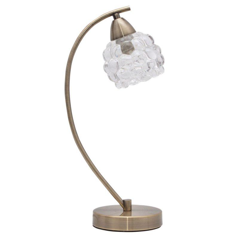 Lámpara de mesa 1xE14 metal tulipa cristal Glass