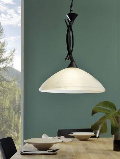 Lámpara colgante marrón cristal blanco Vinovo