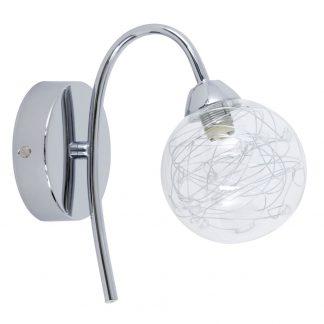 Lámpara pared 1 luz cromo tulipa esférica Tulio