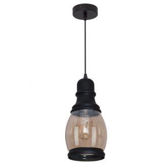 Lámpara colgante negro cristal ámbar 14cm. Capitolina