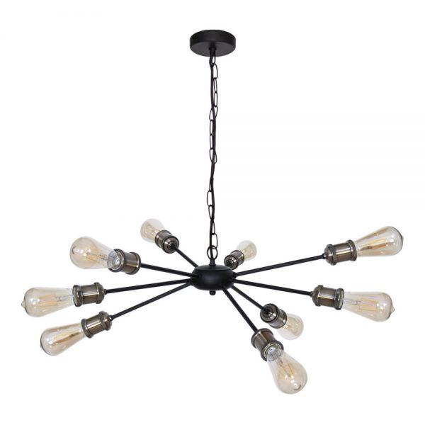 Lámpara 9 luces negra Aryana