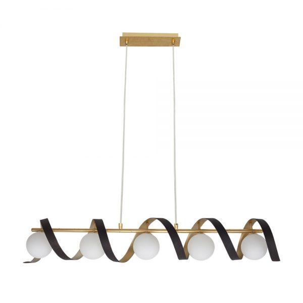 Lámpara 5 luces espiral pan oro y marrón Inara