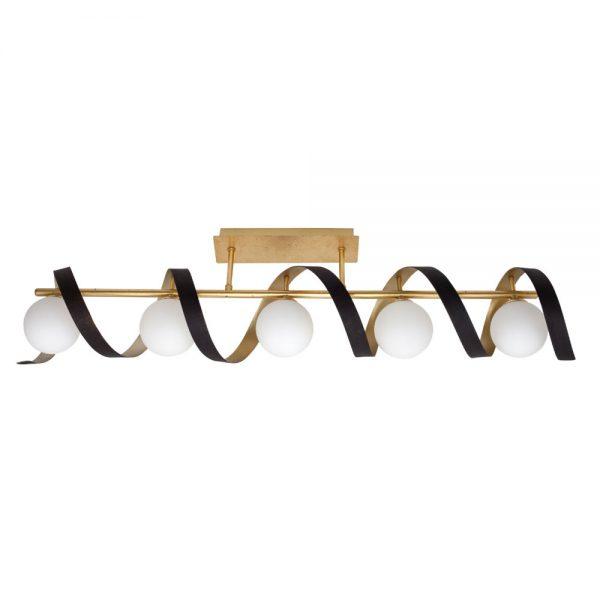 Lámpara plafón 5 luces espiral pan oro y marrón Inara