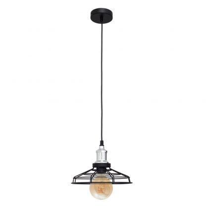 Lámpara colgante negro y cromo rejilla Pascal