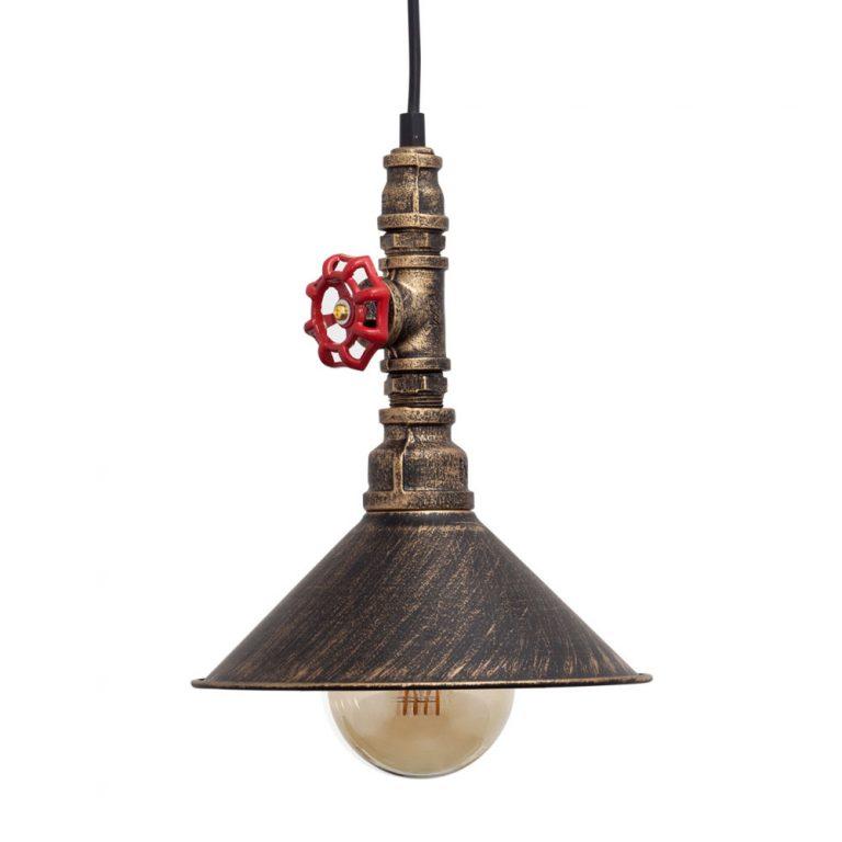 Lámpara colgante oro envejecido llave corte Bentz