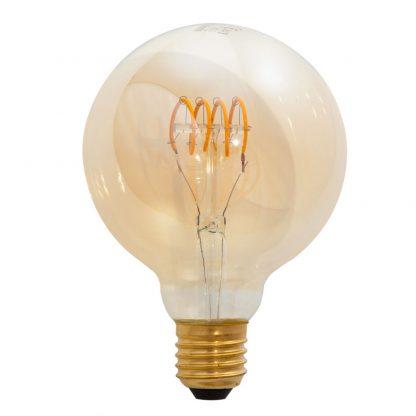Bombilla globo filamento led espiral cristal ámbar E27 Luxram