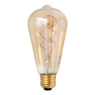 Bombilla pera filamento led espiral cristal ámbar E27 Luxram