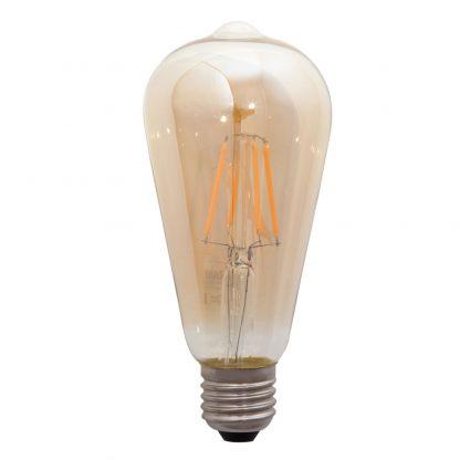 Bombilla pera filamento led cristal ámbar E27 Luxram