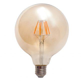 Bombilla globo filamento led cristal ámbar E27 Luxram