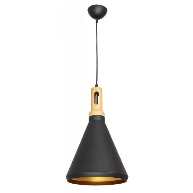 Lámpara colgante negra oro 25 cm Germano 2