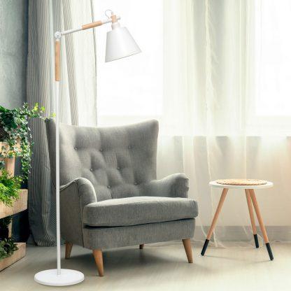 Lámpara suelo flexo metal y madera nórdico Bergen