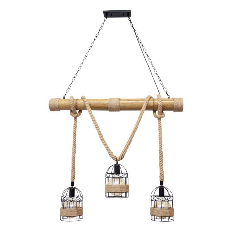 Lámpara 3 luces cuerda cáñamo bambú Soga 2