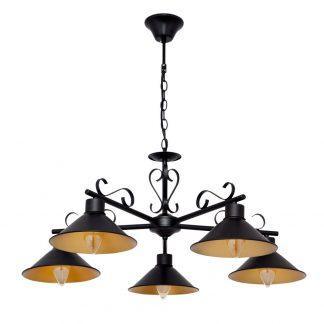 Lámpara 5 luces negro y dorado mate Buhardilla