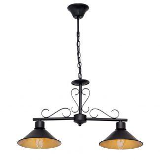 Lámpara 2 luces lineal negro y dorado mate Buhardilla