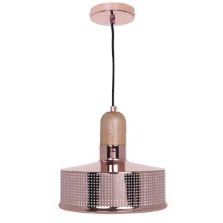 Lámpara colgante metal calado y madera Anusca