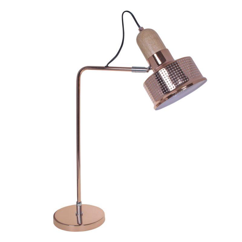 Lámpara mesa metal calado y madera Anusca