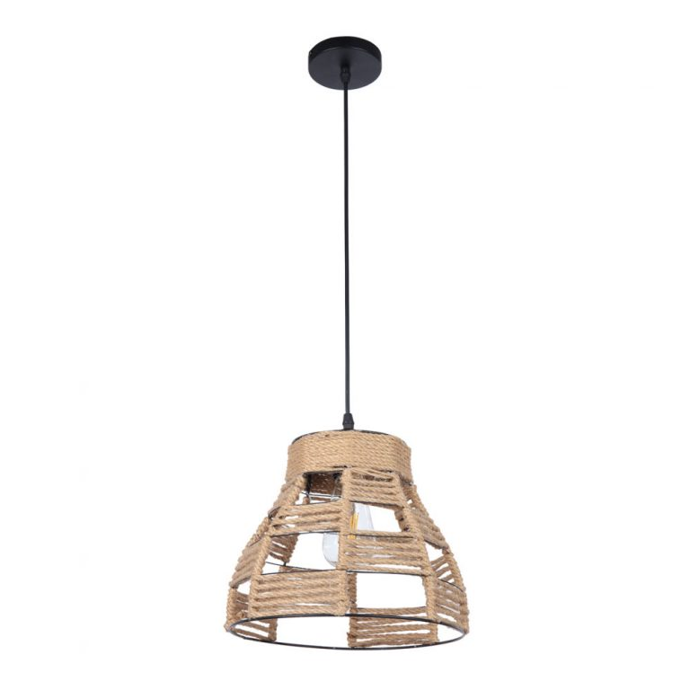 Lámpara colgante 1 luz metal y cuerda cáñamo Yute 5