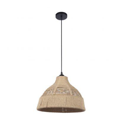 Lámpara colgante 1 luz metal y cuerda cáñamo Yute 2
