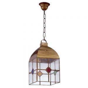 Lámpara colgante cristal transparente y color Granadino