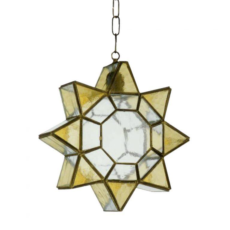 Lámpara colgante cristal estrella Ambarina Artesanía