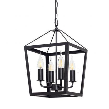 Lámpara colgante 4 luces negro Nora