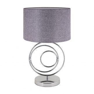 Lámpara de mesa cromo con pantalla gris Amadora
