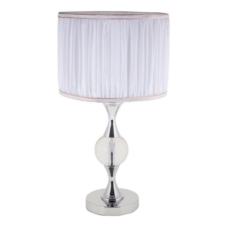 Lámpara de mesa cromo cristal con pantalla plisada Amarante