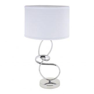 Lámpara de mesa cromo con pantalla blanca Alverca
