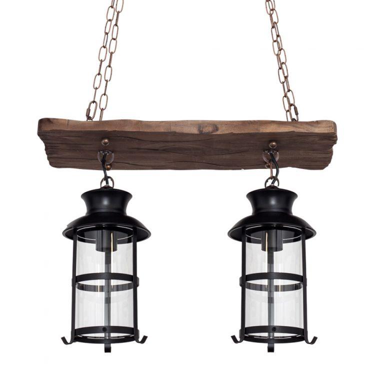 Lámpara 2 luces alargada madera Cortijo