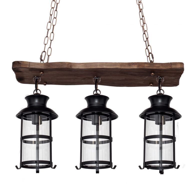 Lámpara 3 luces alargada madera Cortijo