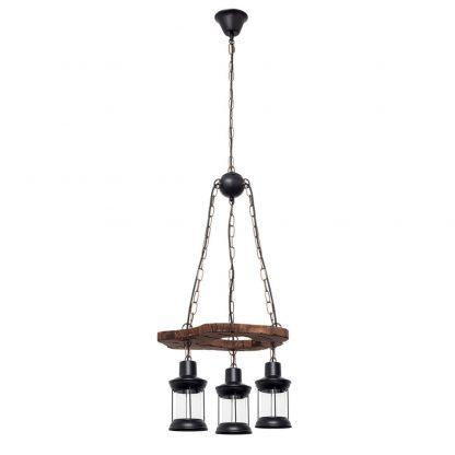 Lámpara 3 luces redonda madera Cortijo