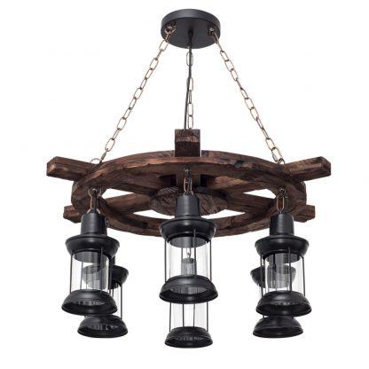 Lámpara 6 luces redonda madera Cortijo
