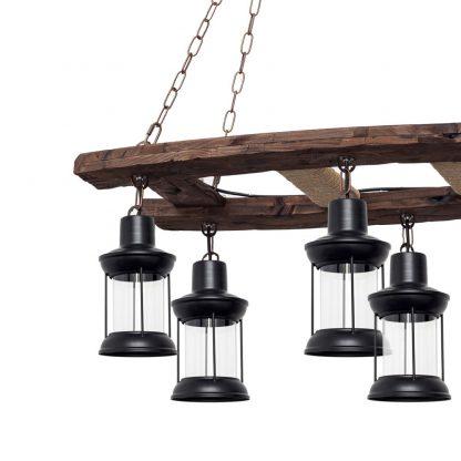 Lámpara 6 luces alargada madera Cortijo