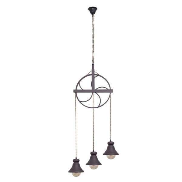 Lámpara colgante 3 luces rústica Rueca