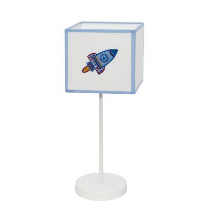 Lámpara mesa infantil pantalla cuadrada Cohete