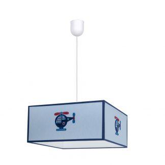 Lámpara colgante infantil pantalla cuadrada Helicóptero