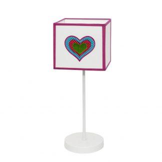 Lámpara mesa infantil pantalla cuadrada Amor